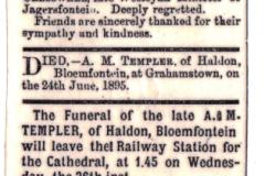 Templer Death Notice